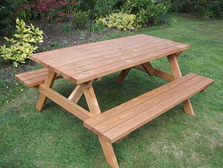 Wooden a frame picnic bench 6 seater e timber products for Garden table designs wood